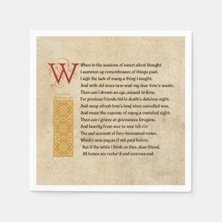 Shakespeare Sonnet 30 (XXX) on Parchment Paper Napkin