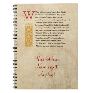 Shakespeare Sonnet 30 (XXX) on Parchment Spiral Notebook