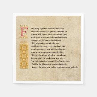 Shakespeare Sonnet 33 (XXXIII) on Parchment Paper Napkin