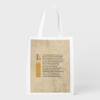 Shakespeare Sonnet 3 (III) on Parchment Reusable Grocery Bag