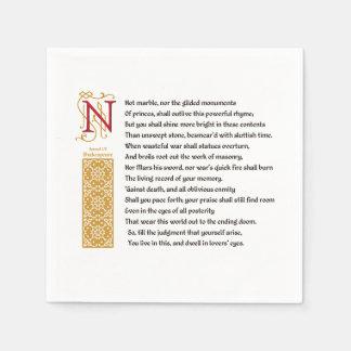 Shakespeare Sonnet 55 (LV) on Parchment Napkin