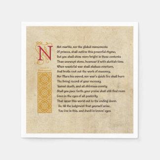 Shakespeare Sonnet 55 (LV) on Parchment Paper Napkin