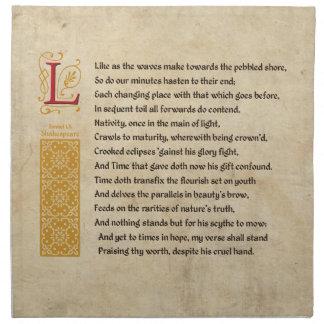 Shakespeare Sonnet 60 (LX) on Parchment Napkins