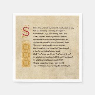 Shakespeare Sonnet 65 (LXV) on Parchment Paper Napkin