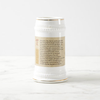 Shakespeare Sonnet 69 LXIX on Parchment Beer Stein