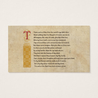 Shakespeare Sonnet 69 LXIX on Parchment Business Card