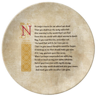 Shakespeare Sonnet 71 (LXXI) on Parchment Dinner Plate