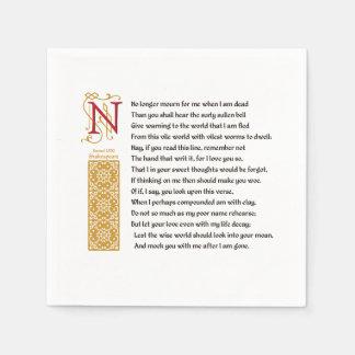 Shakespeare Sonnet 71 (LXXI) on Parchment Paper Napkin