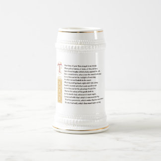 Shakespeare Sonnet 73 (LXXIII) on Parchment Beer Stein