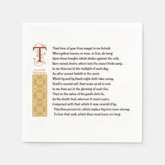 Shakespeare Sonnet 73 (LXXIII) on Parchment Paper Napkin