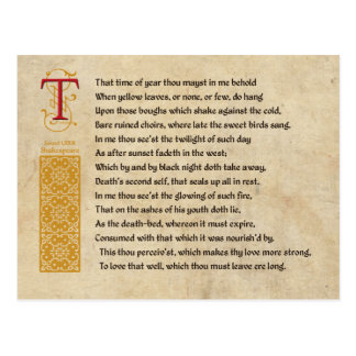 Shakespeare Sonnet 73(LXXIII) on Parchment Postcard
