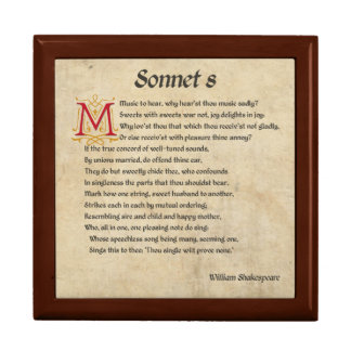 Shakespeare Sonnet 8 Parchment Jewelry Box