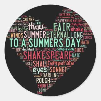 Shakespeare Sonnet Classic Round Sticker