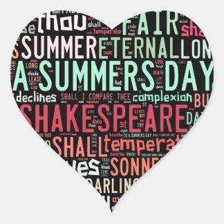 Shakespeare Sonnet Heart Sticker