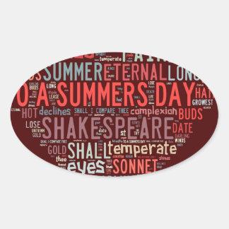 Shakespeare Sonnet Oval Sticker