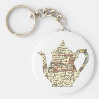 Shakespeare Teapot Basic Round Button Keychain