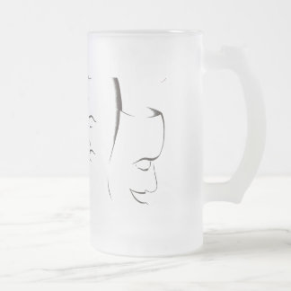 Shakespeare, Theatre Masks Frosted Glass Frosted Glass Beer Mug