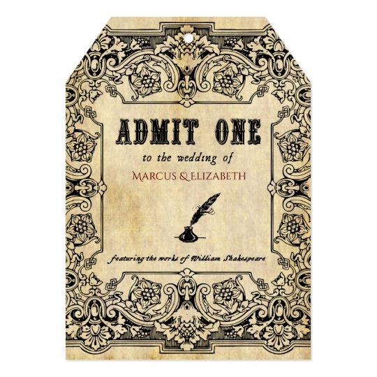 Shakespeare Theatre Ticket Wedding Invitation Zazzlecom