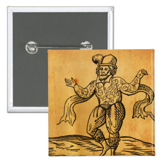 Shakespeare Will Kempe Woodcut Square Button