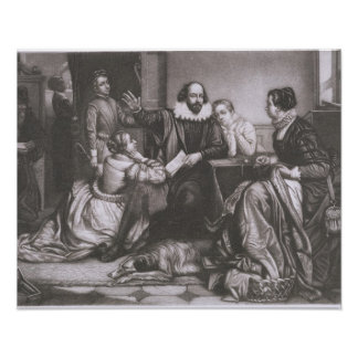 Shakespeare with his Family, at Stratford, Recitin Poster