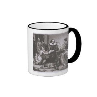 Shakespeare with his Family, at Stratford, Recitin Ringer Mug