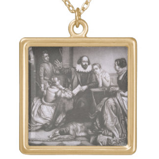 Shakespeare with his Family, at Stratford, Recitin Square Pendant Necklace