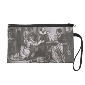 Shakespeare with his Family, at Stratford, Recitin Wristlet Purse