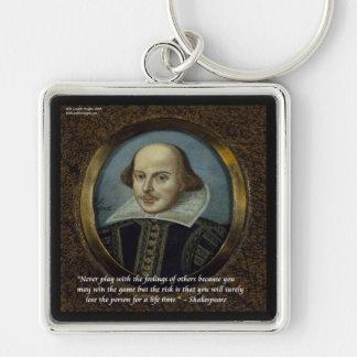 Shakespeare y su cita famosa de las sensaciones llavero cuadrado plateado