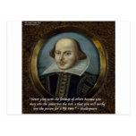 Shakespeare y su cita famosa de las sensaciones postal