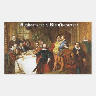 Shakespeare y sus pegatinas de los caracteres pegatina rectangular