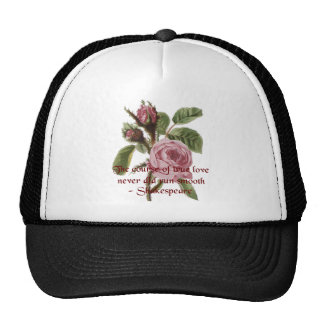 Shakespearean Love Quote and Vintage Red Rose Trucker Hat