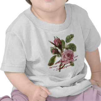 Shakespearean Love Quote and Vintage Red Rose Tshirts