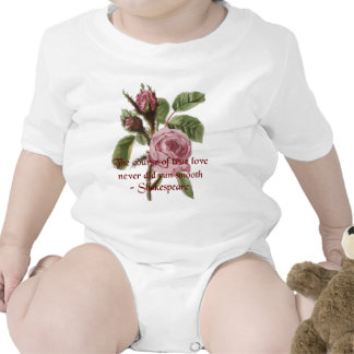 Shakespearean Love Quote and Vintage Red Rose T Shirt