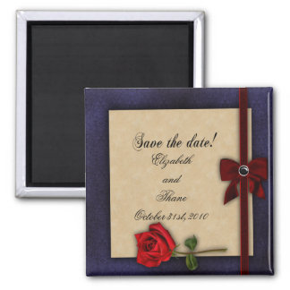 Shakespearean Rose Wedding Save The Date 2 Inch Square Magnet