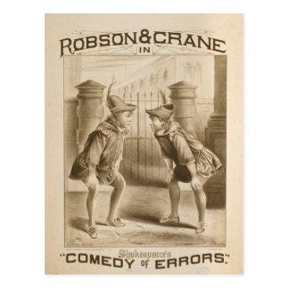 Shakespeare's, 'Comedy of Errors' Retro Theater Postcard