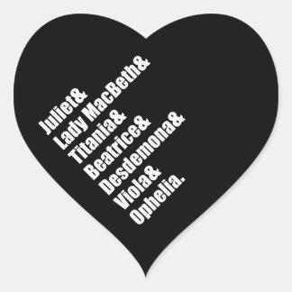 Shakespeare's Ladies Heart Sticker