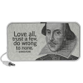 Shakespeare's Love All, Trust a Few, Do... Quote iPod Speaker