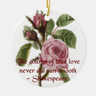 Shakespearian Love Quote and Vintage Red Rose Ceramic Ornament