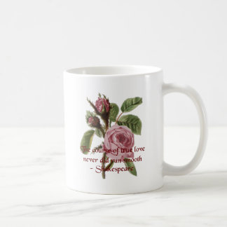 Shakespearian Love Quote and Vintage Red Rose Coffee Mug
