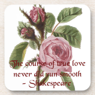 Shakespearian Love Quote and Vintage Red Rose Drink Coaster