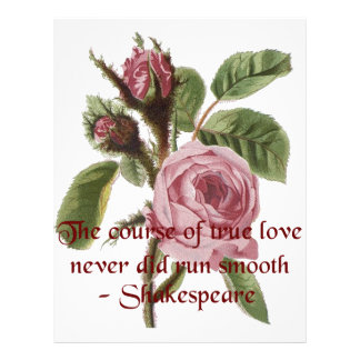 Shakespearian Love Quote and Vintage Red Rose Customized Letterhead