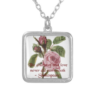 Shakespearian Love Quote and Vintage Red Rose Custom Necklace