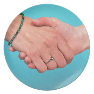 Shaking hands 1 plate