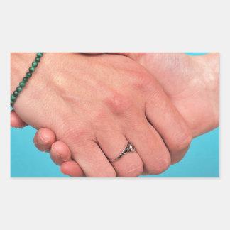 Shaking hands 1 rectangular sticker