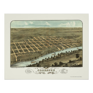Shakopee, mapa panorámico del manganeso - 1869 póster