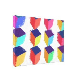 Shaky Cubes Art Deco Wrapped Canvas