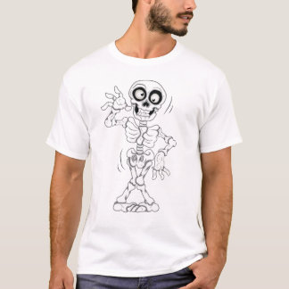Shaky Skeleton White Halloween T-Shirt