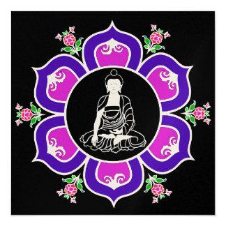 Shakyamuni Buddha in Lotus Throne Mandala 5.25x5.25 Square Paper Invitation Card