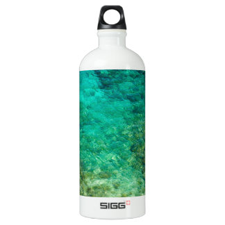 Shallow clear water with coral aluminum water bottle