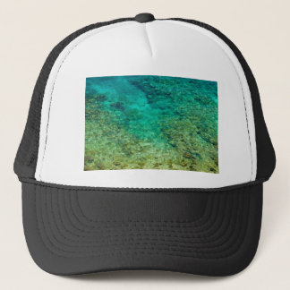 Shallow clear water with coral trucker hat